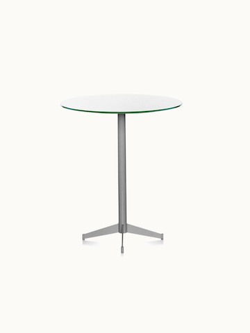 A café-height MP bistro table with a white back-painted glass top.
