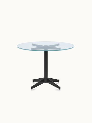 A round MP Occasional Table with a glass top and black base.