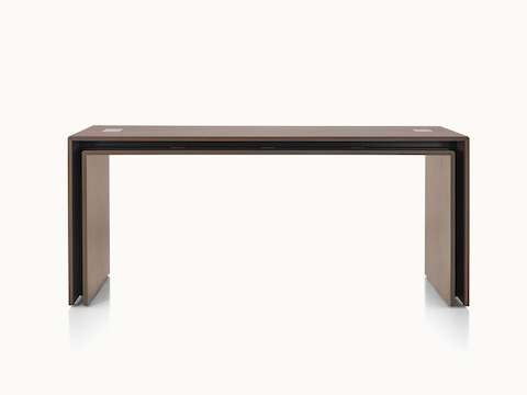 A rectangular Peer Table in a dark wood finish, viewed from the front.