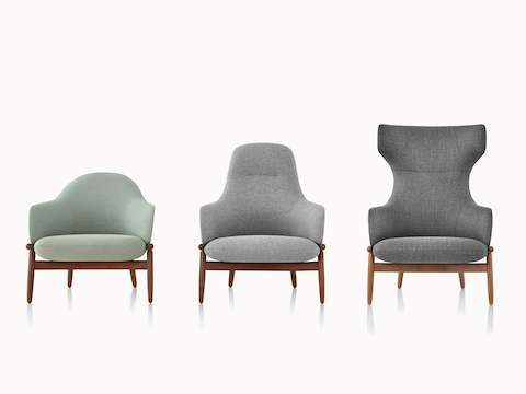 A light green Reframe mid-back lounge chair, a light gray high-back version, and a dark gray wing-back version, all viewed from the front.
