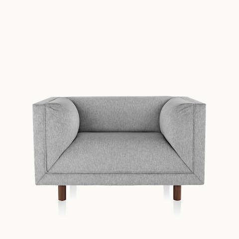 A light gray club chair from the Rolled Arm Sofa Group, viewed from the front.