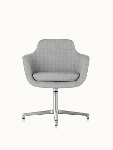 A mid-back Saiba conference chair with light gray upholstery and a four-star base, viewed from the front.