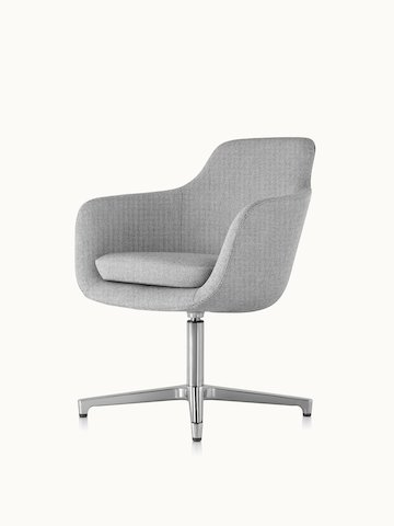 Angled view of a mid-back Saiba conference chair with light gray upholstery and a four-star base.