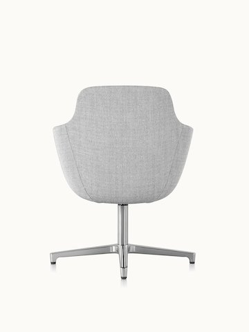 A mid-back Saiba conference chair with light gray upholstery and a four-star base, viewed from behind.