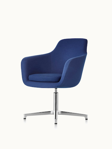 Angled view of a mid-back Saiba conference chair with dark blue upholstery and a four-star base.