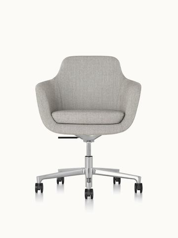 A mid-back Saiba office chair with light gray upholstery and a five-star base, viewed from the front.