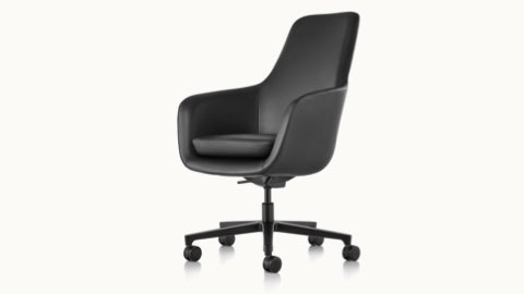 Angled view of a high-back Saiba office chair with black leather upholstery and a five-star base.