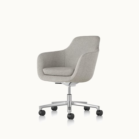Angled view of a mid-back Saiba office chair with light gray upholstery and a five-star base. Select to go to the Saiba Chair product page.