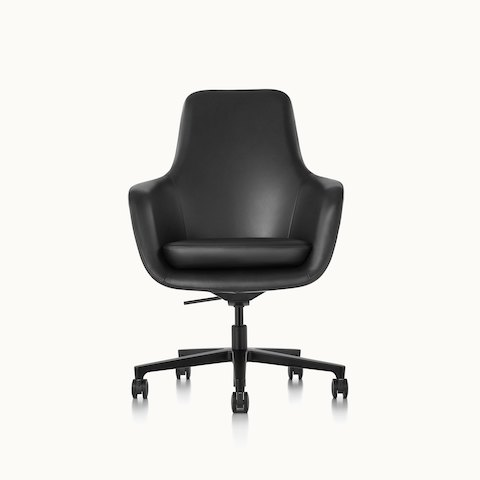 A high-back Saiba office chair with black leather upholstery and a five-star base, viewed from the front.