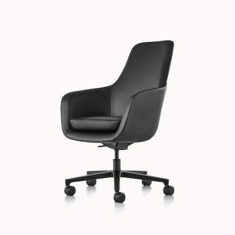 Angled view of a high-back Saiba office chair with black leather upholstery and a five-star base. Select to go to the Saiba Chair product page.