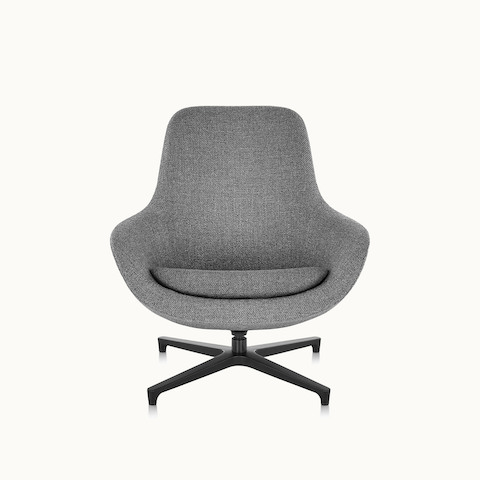 A Saiba Lounge Chair with gray upholstery, viewed from the front.