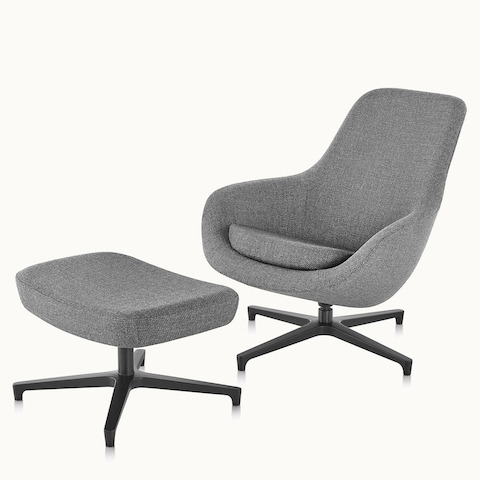 Angled view of a gray Saiba Lounge Chair and Ottoman. Select to go to the Saiba Lounge Chair and Ottoman product page.