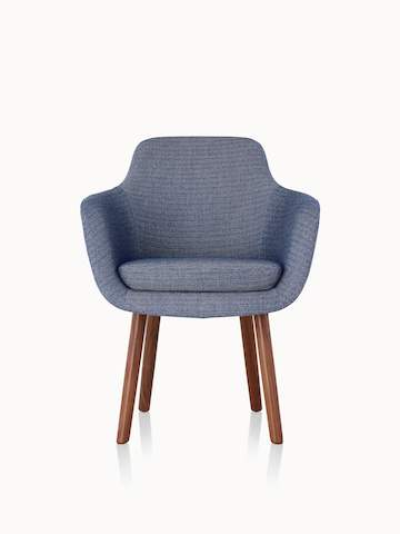 A Saiba Side Chair with blue upholstery and wood legs in a medium finish, viewed from the front.