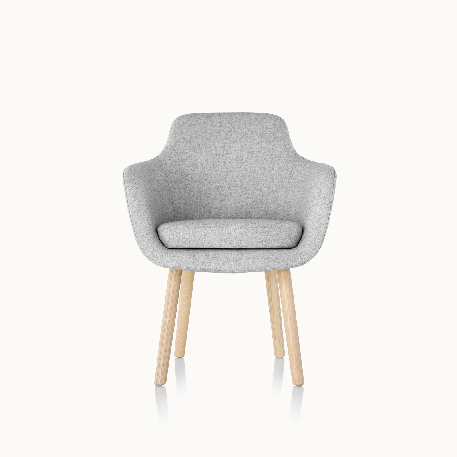 A Saiba Side Chair with light gray upholstery and wood legs in a light finish, viewed from the front.