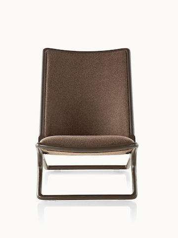 A Scissor lounge chair with brown fabric upholstery and a wood frame in a dark finish, viewed from the front.