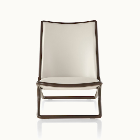 A Scissor lounge chair with ivory-colored leather upholstery and a wood frame in a dark finish, viewed from the front.