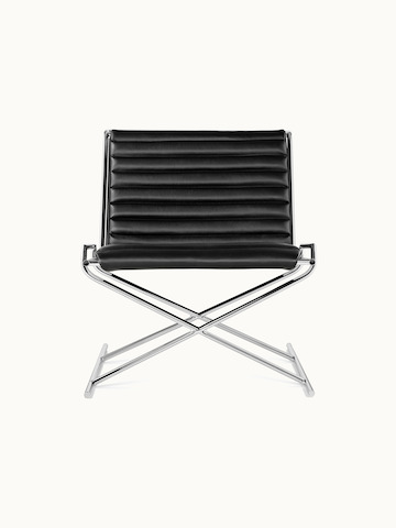 A Sled lounge chair with ribbed black leather upholstery and an X-shaped steel frame, viewed from the front.