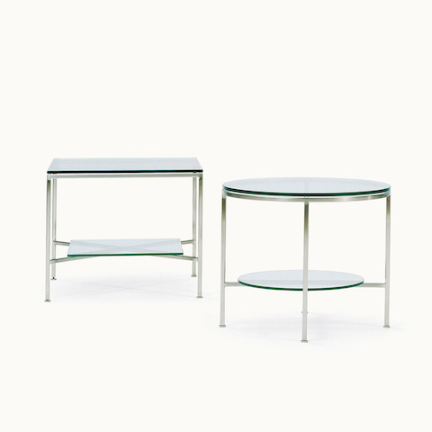 Rectangular and round Slimline occasional tables with glass tops and lower shelves.