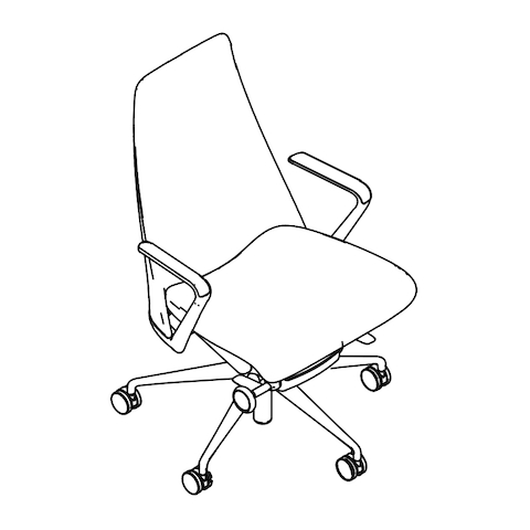 Line drawing of a Taper office chair, viewed from above at an angle.