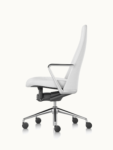 Side view of a Taper office chair upholstered in off-white fabric.