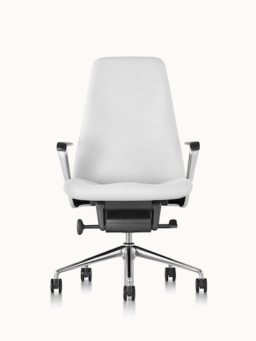 A Taper office chair upholstered in off-white fabric, viewed from the front.