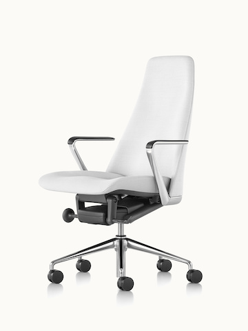 Angled view of a Taper office chair upholstered in off-white fabric.