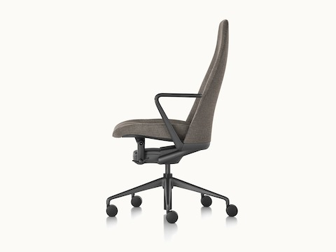 Side view of a black Taper office chair, showing the slender profile.