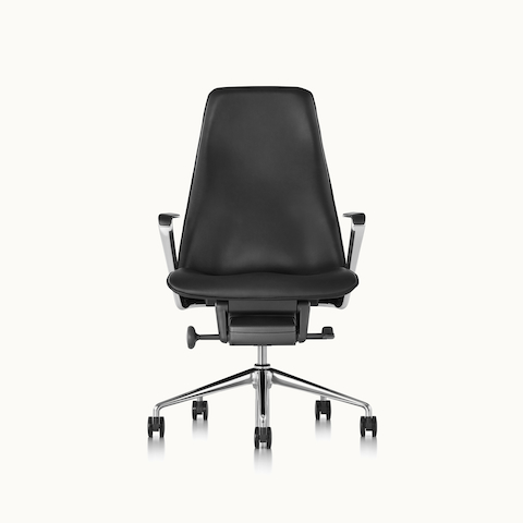 A Taper office chair with black leather upholstery, viewed from the front.