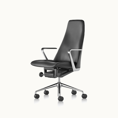 Angled view of a Taper office chair with black leather upholstery. Select to go to the Taper Chair product page.