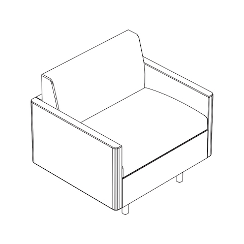 Line drawing of a non-quilted Tuxedo Classic club chair, viewed from above at an angle.
