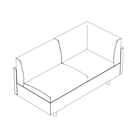 Line drawing of a non-quilted Tuxedo Classic connecting corner settee, viewed from above at an angle.