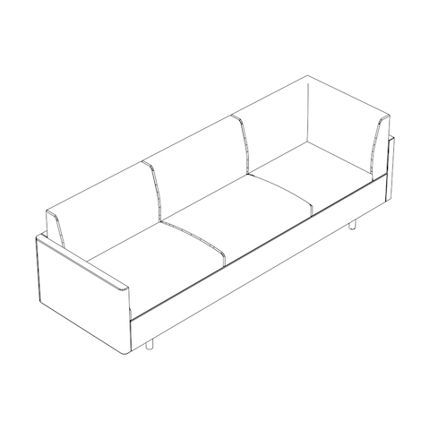 Line drawing of a non-quilted Tuxedo Classic connecting corner sofa, viewed from above at an angle.