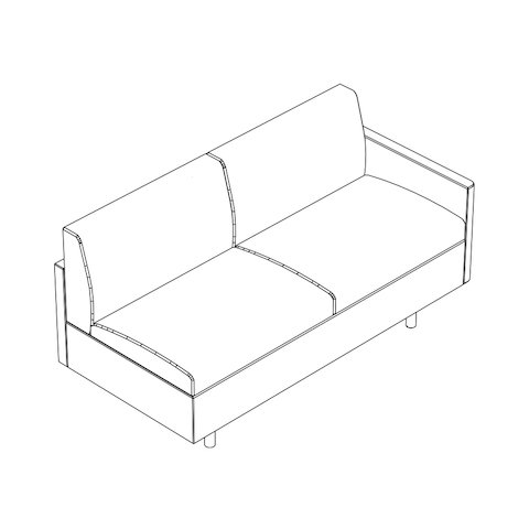 Line drawing of a non-quilted Tuxedo Classic connecting settee, viewed from above at an angle.