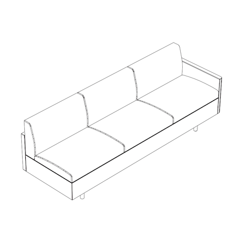 Line drawing of a non-quilted Tuxedo Classic connecting sofa, viewed from above at an angle.