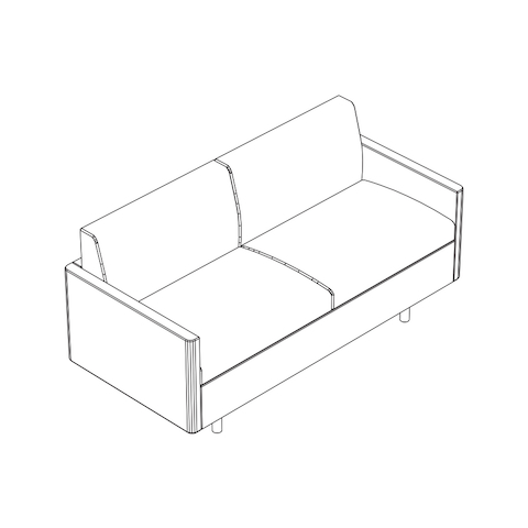 Line drawing of a non-quilted Tuxedo Classic settee, viewed from above at an angle.