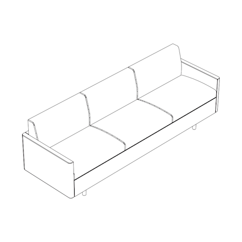 Line drawing of a non-quilted Tuxedo Classic sofa, viewed from above at an angle.