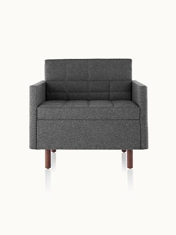 A quilted Tuxedo Classic club chair upholstered in dark gray fabric, viewed from the front.