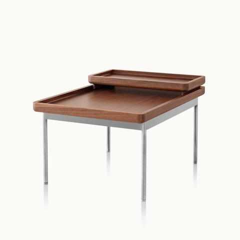 Angled view of a rectangular Tuxedo Component occasional table with a nesting tray. Select to go to the Tuxedo Component Tables product page.
