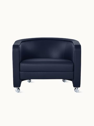 U-Series Lounge Chair with casters upholstered in Tenera Sapphire.