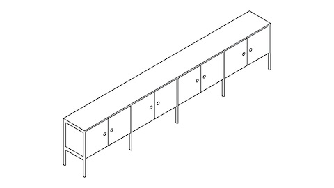 An overhead view of a H Frame Credenza 4 units wide