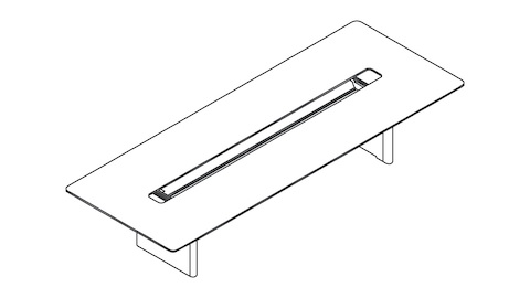 An overhead view of a rectangular Axon Table