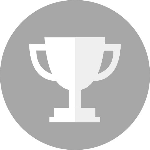 A graphic depiction of  a loving cup trophy in a gray circle.