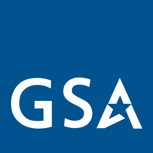 A logo with the letters GSA in white against a blue background.