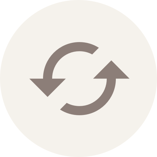 A graphic depiction of two arrows forming a partial circle within a circle.