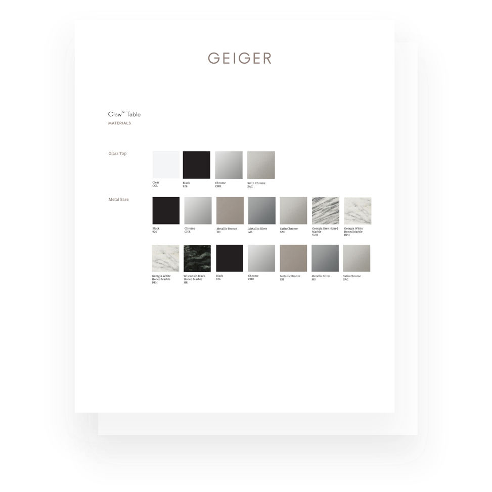 A page from a Geiger marketing piece showing finish options.