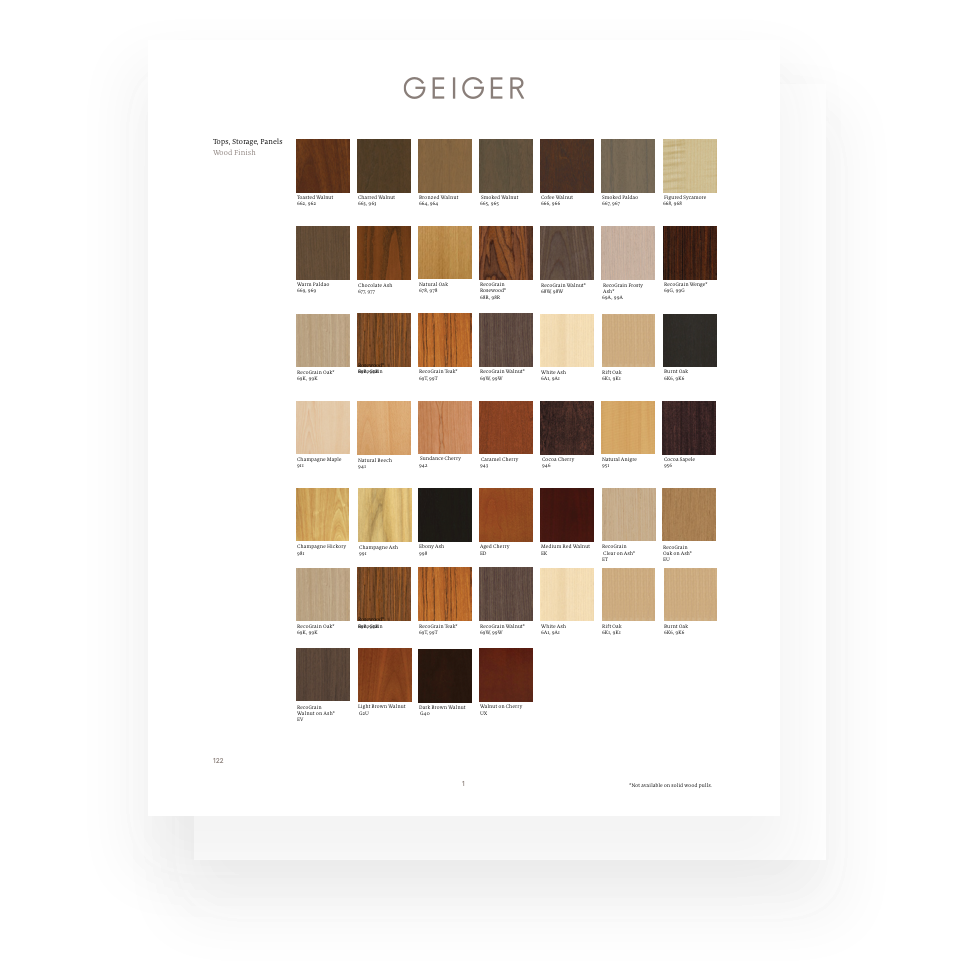 A page from a Geiger marketing piece showing veneer options.