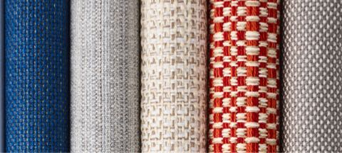 A row of five textiles from Geiger's Solene Collection in various colors and patterns.